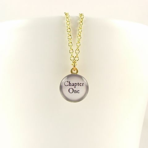 Chapter,One,Necklace,-,Writer,Gift,Jewelry,Earrings,Dangle,literary_earrings,quote_earrings,english_literature,jezebel_charms,book_lover,pride_prejudice,jane_austen_jewelry,jane_austin,reading,literary,mr_darcy,marriage_proposal,love_quote,metal,brass,glass,cabochon,book,page,quote,paper,j