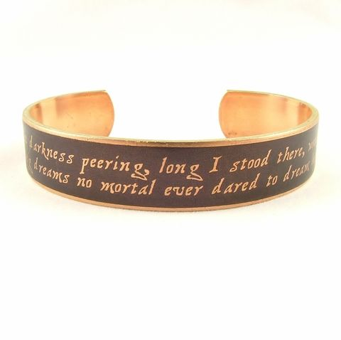 Poe's,The,Raven,Skinny,Cuff,Jewelry,Bracelet,literature,supernatural,edgar_allan_poe,poe_jewelry,the_raven,nevermore_poem,macabre_horror,gothic,literary_quote_cuff,dark_and_morbid,black_and_gold,jezebel_charms,edgar_allen_poe,brass,handmade,decoupage,art,paper,poem,quote,words