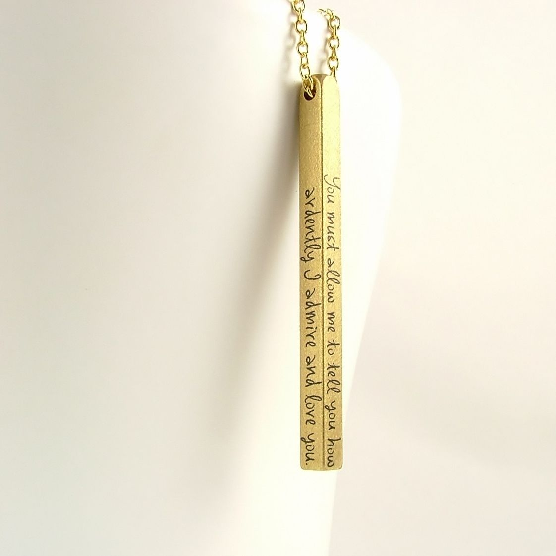 Mr Darcy Proposal Quote Bar Necklace - product images  of