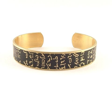 Rosetta,Stone,Skinny,Cuff,skinny brass cuff, languages demotic, greek, hieroglyphs, egypt, egyptian, rosetta stone, history, script, words, text , black, gold, british museum