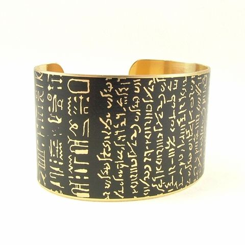 Rosetta,Stone,Cuff,brass cuff, languages demotic, greek, hieroglyphs, egypt, egyptian, rosetta stone, history, script, words, text , black, gold, british museum