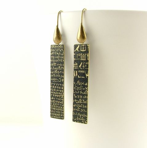 Rosetta,Stone,Long,Brass,Drop,Earrings,drop earrings, dangle earrrings,long brass earrings, languages demotic, greek, hieroglyphs, egypt, egyptian, rosetta stone, history, script, words, text , black, gold, british museum
