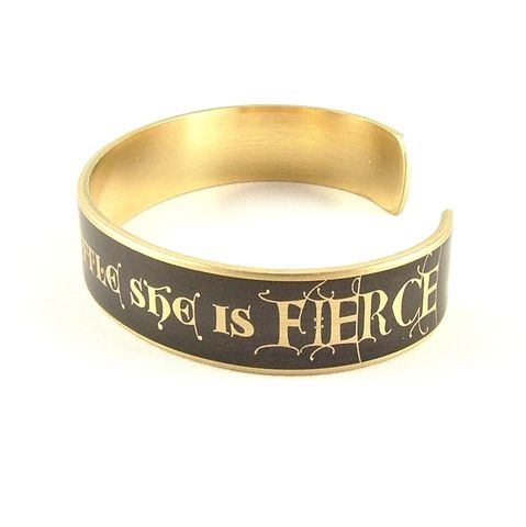 She,Is,Fierce,Skinny,Cuff,Jewelry,Bracelet,shakespeare,red,literature,passion,theatre_theater,book_quote,shakespeare_jewelry,romance,love_quotes,cuff_bracelet,midsummer_nights,library_librarian,literary_gifts,brass,art,decoupage,metal,cuff,bangle,words,script,handmade,quote,t