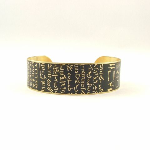 Rosetta,Stone,Slim,Cuff,brass cuff, languages demotic, greek, hieroglyphs, egypt, egyptian, rosetta stone, history, script, words, text , black, gold, british museum