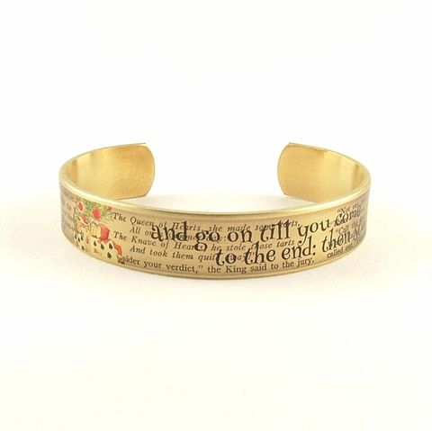 White,Rabbit,Skinny,Cuff,Jewelry,Bracelet,cuff_bracelet_quote,literary_jewelry,quote,book,literary_bracelet,lewis_carroll,alice_in_wonderland,cheshire_cat,riddles,mad_hatter,tea_party,jezebel_charms,gifts_for_writers,brass,art,decoupage,handmade,paper,illustration,alice