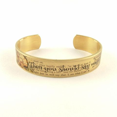 Mad,Hatter's,Tea,Party,Skinny,Cuff,Jewelry,Bracelet,cuff_bracelet_quote,literary_jewelry,quote,book,literary_bracelet,lewis_carroll,alice_in_wonderland,cheshire_cat,riddles,mad_hatter,tea_party,jezebel_charms,gifts_for_writers,brass,art,decoupage,handmade,paper,illustration,alice