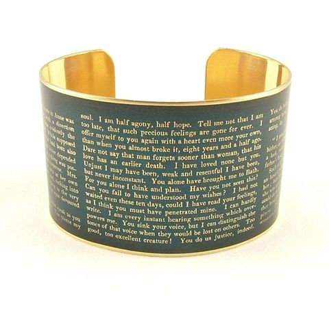 Captain,Wentworth's,Letter,Persuasion,Cuff,Jewelry,Bracelet,jane_austen,persuasion_novel,brass_cuff,literature,book,quote,love_letter,wentworth,pride_and_prejudice,literary_bracelet,chocolate_brown,jane_austen_jewelry,bookish_gift_ideas,brass,decoupage,handmade,paper,art,metal,books,jane_aust