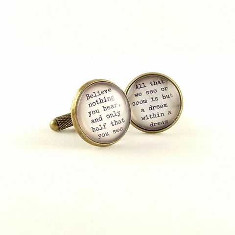 Edgar,Allan,Poe,Cuff,Links,Jewelry,Bracelet,literature,supernatural,edgar_allan_poe,poe_jewelry,the_raven,nevermore_poem,macabre_horror,gothic,literary_quote_cuff,dark_and_morbid,black_and_gold,jezebel_charms,edgar_allen_poe,brass,handmade,decoupage,art,paper,poem,quote,words
