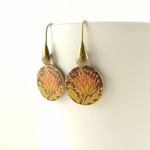 William,Morris,Artichoke,Round,Earrings,Jewelry,Bracelet,Cuff,william morris_jewelry,pretty,botanical_print,blue,green,gold,plants,flowers,tropical,brass_cuff,jezebel_charms,gardening_jewelry,floral_bracelet,brass,art,handmade,decoupage,paper,metal,illustration