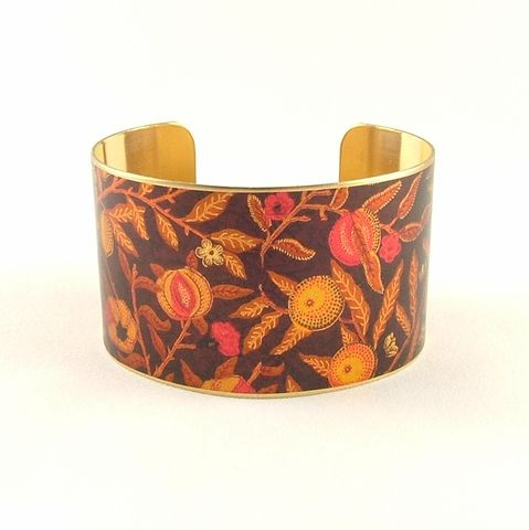 William,Morris,Fruit,Pomegranate,Cuff,Jewelry,Bracelet,william morris_jewelry,pretty,botanical_print,blue,green,gold,plants,flowers,tropical,brass_cuff,jezebel_charms,gardening_jewelry,floral_bracelet,brass,art,handmade,decoupage,paper,metal,illustration