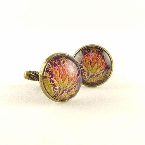 William,Morris,Artichoke,Cuff,Links,Jewelry,Bracelet,william morris_jewelry,pretty,botanical_print,blue,green,gold,plants,flowers,tropical,brass_cuff,jezebel_charms,gardening_jewelry,floral_bracelet,brass,art,handmade,decoupage,paper,metal,illustration