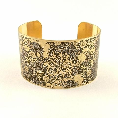 William,Morris,Seaweed,Cuff,Jewelry,Bracelet,william morris_jewelry,pretty,botanical_print,blue,green,gold,plants,flowers,tropical,brass_cuff,jezebel_charms,gardening_jewelry,floral_bracelet,brass,art,handmade,decoupage,paper,metal,illustration