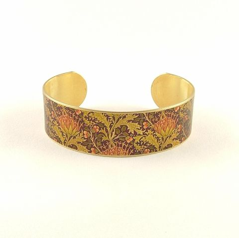William,Morris,Artichoke,Cuff,Jewelry,Bracelet,william morris_jewelry,pretty,botanical_print,blue,green,gold,plants,flowers,tropical,brass_cuff,jezebel_charms,gardening_jewelry,floral_bracelet,brass,art,handmade,decoupage,paper,metal,illustration