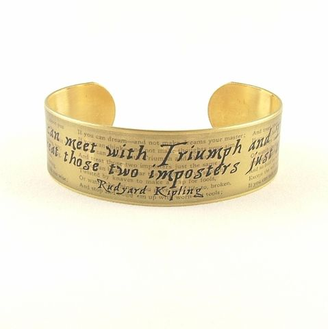 Rudyard,Kipling,If,Cuff,Jewelry,Bracelet,Rudyard_Kipling, triumph disaster, if poem,poetry_cuff,t,poem_quote,brass_cuff,literary_jewelry,union_jack_flag,witty_wit_quote,writer_gift,jezebel_charms,quote_cuff,funny_saying,brass,paper,poem,font,typeface,illustration,words,book