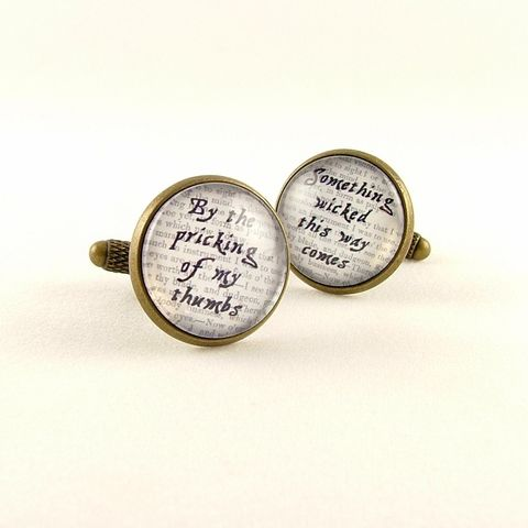 Macbeth,Something,Wicked,Cuff,Links,Accessories,Cuff_Links,Geekery,cufflinks,cuff_links,cool_gifts_for_men,shakespeare,literary_gifts,english_literature,book_nerd,library_art,literary_quote,groomsman_cuff_links,theater_drama,acting_actor,old_england,brass,art,decoupage,handmade,paper,metal