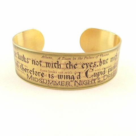 A,Midsummer,Night's,Dream,Cuff,Jewelry,Bracelet,shakespeare,red,literature,passion,theatre_theater,book_quote,shakespeare_jewelry,romance,love_quotes,cuff_bracelet,midsummer_nights,library_librarian,literary_gifts,brass,art,decoupage,metal,cuff,bangle,words,script,handmade,quote,t