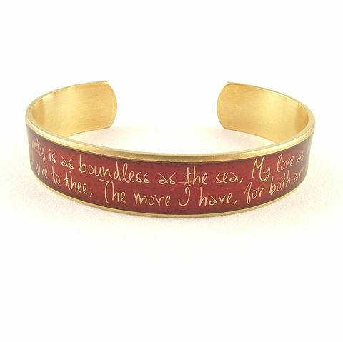Romeo,and,Juliet,Cuff,Jewelry,Bracelet,shakespeare,red,literature,passion,theatre_theater,book_quote,shakespeare_jewelry,romance,love_quotes,cuff_bracelet,midsummer_nights,library_librarian,literary_gifts,brass,art,decoupage,metal,cuff,bangle,words,script,handmade,quote,t