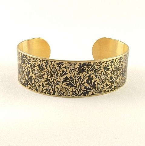 William,Morris,Thistle,Cuff,Jewelry,Bracelet,william morris_jewelry,pretty,botanical_print,blue,green,gold,plants,flowers,tropical,brass_cuff,jezebel_charms,gardening_jewelry,floral_bracelet,brass,art,handmade,decoupage,paper,metal,illustration