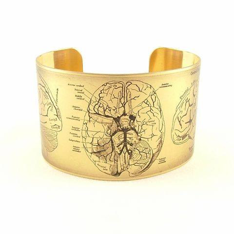 Anatomical,Human,Brain,Cuff,Jewelry,Bracelet,cuff_bracelet,biology,skeleton,doctor,xray,black,jezebelcharms,hospital,human_body,gifts_for_doctor,bone_bones,anatomy_anatomical,medical,handmade,brass,decoupage,art,paper,illustration,medical_drawing