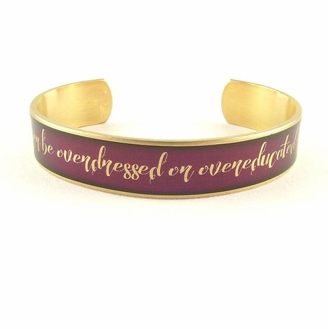 Oscar,Wilde,Overdressed,Cuff,Jewelry,Bracelet,oscar_wilde,theatre_theater,diary_quote,london_england,literary_quotes,quote_bracelet,red,victorian_manners,funny_and_witty,words,acting_gifts,cuff_bracelet,reading,brass,art,decoupage,handmade,paper,metal_cuff,text,font,pages