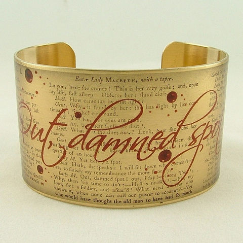 Shakespeare's,Macbeth,Out,,Damned,Spot,Cuff,Jewelry,Bracelet,theatre_theater,stratford_england_uk,shakespeare,macbeth,scottish_jewelry,literary_bracelet,book_cuff,blood_stain,ghost,haunted,jezebelcharms,gothic,quotation,art,brass,decoupage,handmade,metal,cuff,bangle,book,words,quote,script