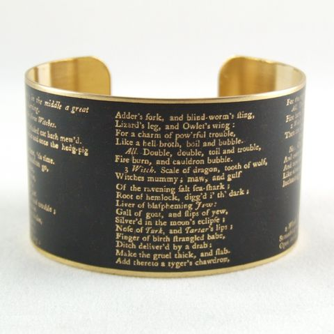 William,Shakespeare's,Macbeth,Cuff,brass cuff, shakespeare,literary_gifts,english_literature,book_nerd,library_art,literary_quote,groomsman_cuff_links,theater_drama,acting_actor,macbeth_shakespeare,brass,art,decoupage,handmade,paper,me
