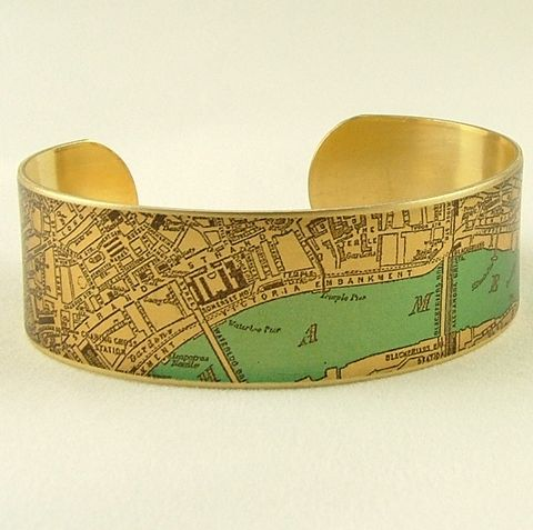 Antique,London,Bridge,Map,with,the,River,Thames,Cuff,Jewelry,Bracelet,england_london_uk,british_bracelet,london_england,steampunk_cuff,love_london,map_jewelry,vintage_map_london,river_thames,turquoise_blue,traveller_travel,railroads,roads_streets,queens_jubilee,brass,handmade,decoupage,art,paper,vintag