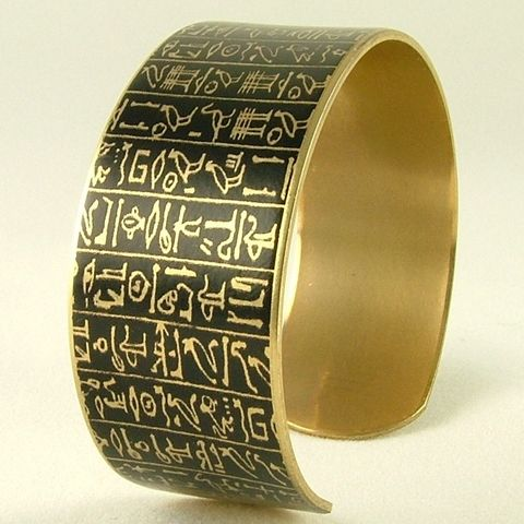 Book,of,the,Dead,-,Ancient,Egyptian,Hieroglyphic,Brass,Cuff,brass cuff, languages demotic, greek, hieroglyphs, egypt, egyptian, rosetta stone, history, script, words, text , black, gold, british museum