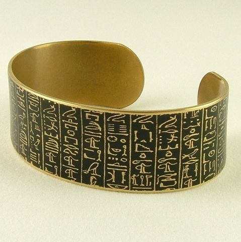 Book,of,the,Dead,-,Ancient,Egyptian,Hieroglyphic,Cuff,brass cuff, languages demotic, greek, hieroglyphs, egypt, egyptian, rosetta stone, history, script, words, text , black, gold, british museum