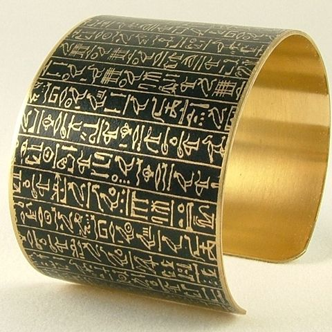 Ancient,Egyptian,Hieroglyphic,Brass,Cuff,-,Book,of,the,Dead,brass cuff, languages demotic, greek, hieroglyphs, egypt, egyptian, rosetta stone, history, script, words, text , black, gold, british museum