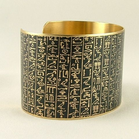 Ancient,Egyptian,Hieroglyphic,Cuff,Book,of,the,Dead,brass cuff, languages demotic, greek, hieroglyphs, egypt, egyptian, rosetta stone, history, script, words, text , black, gold, british museum