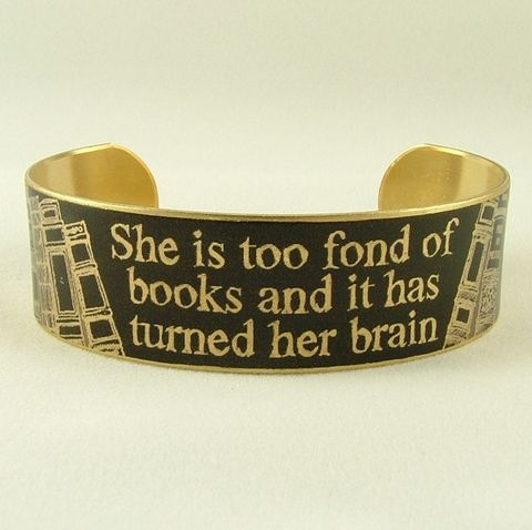 She,Is,Too,Fond,Of,Books,Cuff,in,Black,Jewelry,Bracelet,jezebel_charms,literary,louisa_may_alcott,books,reading,witty_quote,little_women,writer,quote,bookworm,dark_blue,quote_bracelet,bookish_gifts,brass,handmade,decoupage,art,paper,words,font,typeface,book