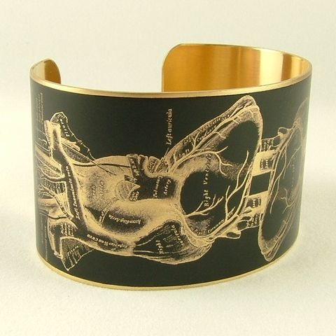 Anatomical,Heart,Brass,Cuff,Jewelry,Bracelet,cuff_bracelet,biology,skeleton,doctor,xray,black,jezebelcharms,hospital,human_body,gifts_for_doctor,bone_bones,anatomy_anatomical,medical,handmade,brass,decoupage,art,paper,illustration,medical_drawing