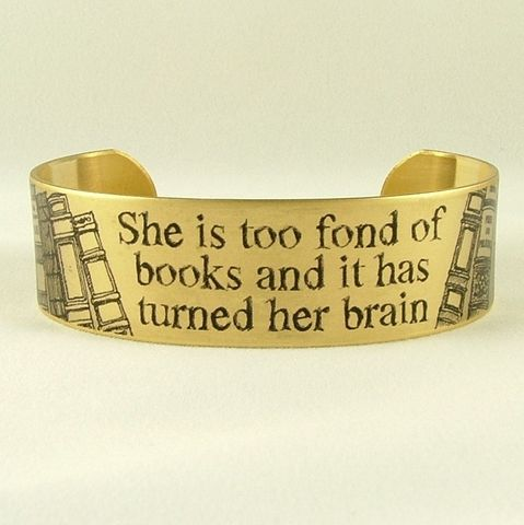She,Is,Too,Fond,Of,Books,Cuff,Jewelry,Bracelet,jezebel_charms,literary,louisa_may_alcott,books,reading,witty_quote,little_women,writer,quote,bookworm,dark_blue,quote_bracelet,bookish_gifts,brass,handmade,decoupage,art,paper,words,font,typeface,book