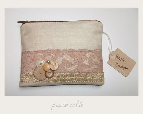 Blush,Purse,peace silk, ethical purse,vintage purse,handmade in Britain, eco xmas gifts