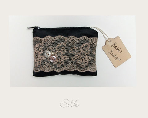 Black,Coin,Purse,hemp silk, ethical purse,coin purse,vintage purse,handmade in Britain, eco xmas gifts