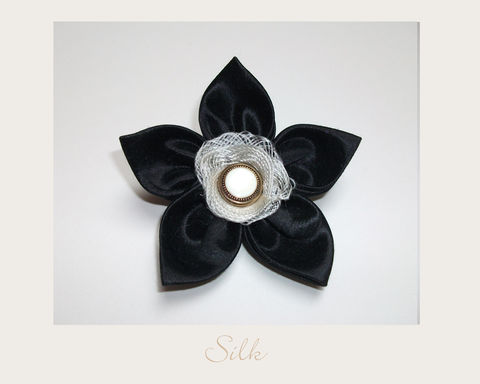 Black,Silk,Brooch,hemp silk,silk brooch,ethical brooch,evening brooch,eco accessories,ethical accessories
