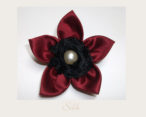 Red,Silk,Brooch,hemp silk,silk brooch,ethical brooch,evening brooch,eco accessories,ethical accessories