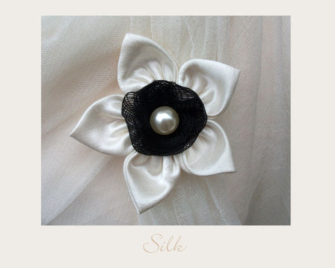 Snow,White,Silk,Brooch,Hemp silk, wedding accessories, ethical brooch, vintage brooch, bobbie's boutique