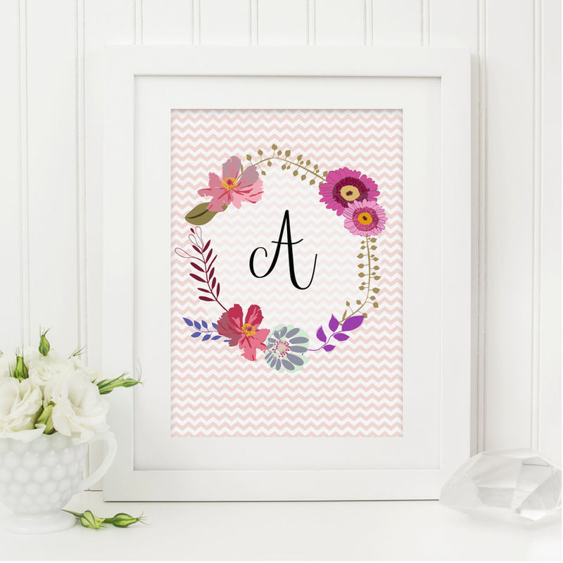 floral monogram print personalised print girls print little