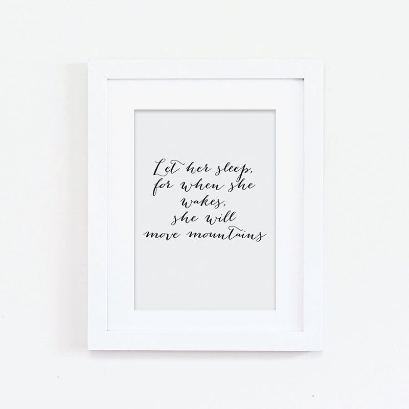 nursery print let her sleep print quote print typography print