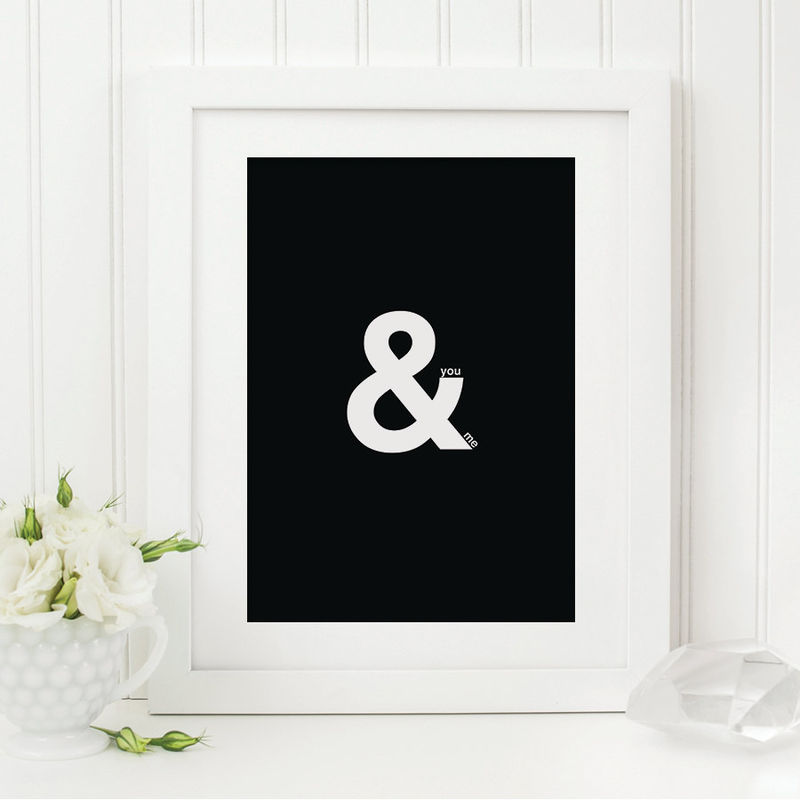 You me print ampersand print romantic print black and white print