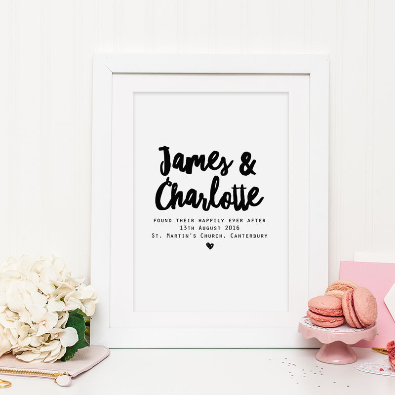monochrome personalised wedding print happily ever after