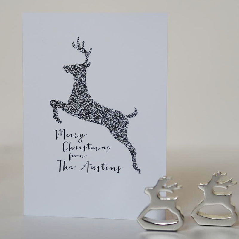 Reindeer Family Christmas Card - Personalised Family Christmas Card ...