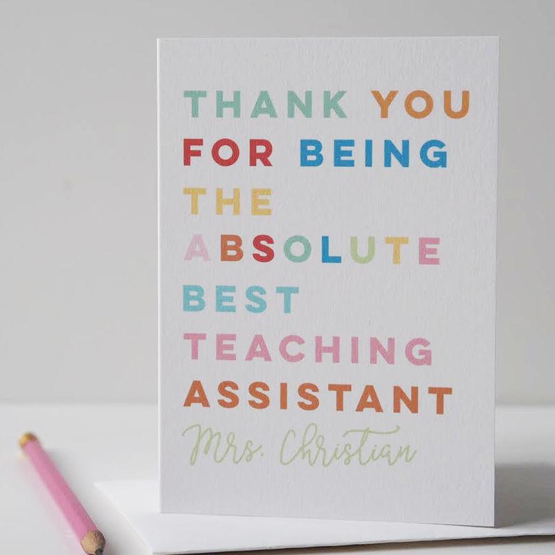 absolute best teacher card teaching assistant card thank you