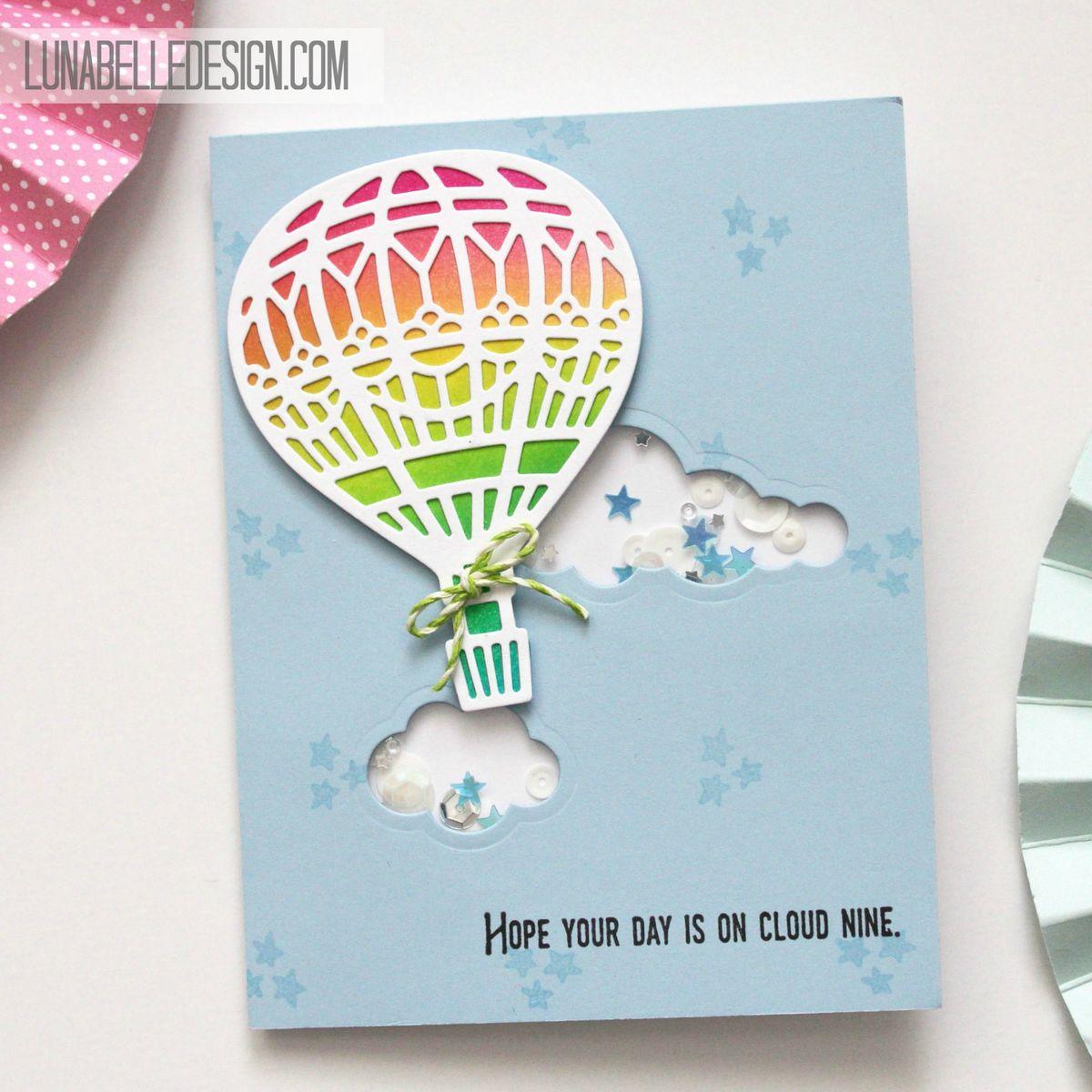Luna belle design hotairballoonshakerbirthdayshaker card hot air balloon bookmarktalkfo Image collections