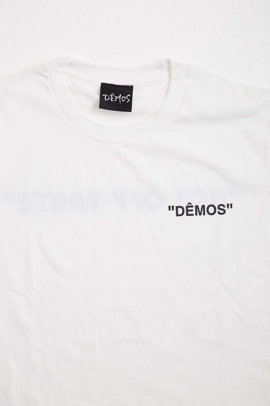 Demos White Not Off White Quote print Fake cotton t-shirt tee - DÊMOS 1a519654491d