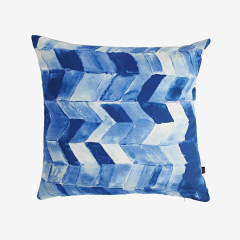 SOLD,OUT,Aegean,Sea,Cushion,blue cushion, blue chevron, chevron cushion, digital print, printed cushion, amy sia cushion, amy sia, cushion, watercolour, watercolour cushion, abstract cushion, watercolour abstract cushion, painterly cushion