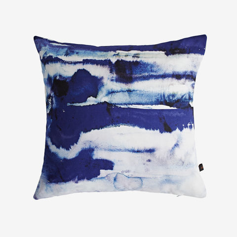 SOLD,OUT,Santorini,Cushion,blue cushion, blue stripe cushion, watercolour stripe cushion, digital print, printed cushion, amy sia cushion, amy sia, cushion, watercolour, watercolour cushion, abstract cushion, watercolour abstract cushion, painterly cushion