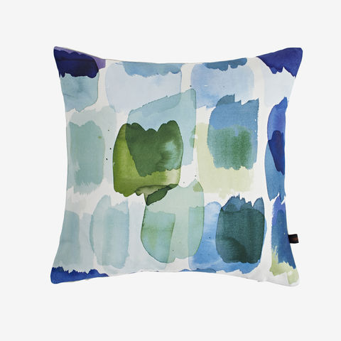 Naxos,Cushion,green cushion, blue cushion, digital print, printed cushion, amy sia cushion, amy sia, cushion, watercolour, watercolour cushion, abstract cushion, watercolour abstract cushion, painterly cushion